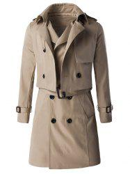 Epaulet Design Buckle Sleeve Coat and Longline Belted Waistcoat Twinset -