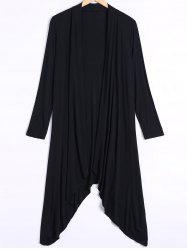 Long Sleeve Irregular Hem Long Cardigan - BLACK