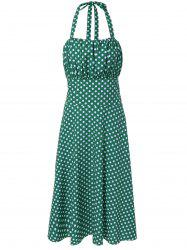 Vintage Halter Polka Dot Empire Waist Dress -