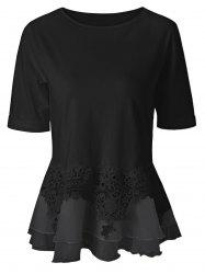 Lace Splicing Layered Peplum Blouse