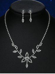 Rhinestone Leaf Wedding Jewelry Set - SILVER