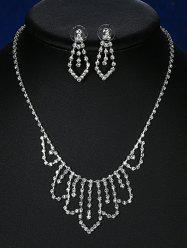 Rhinestoned Geometric Bridal Jewelry Set - SILVER