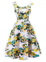 Blossom Print Sleeveless Swing Vintage Tea Dress