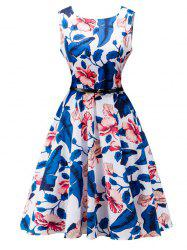 Belted Floral Print High Waist Swing Dress - WHITE
