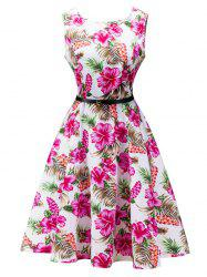 Sleeveless Belted Flower Print Flare Dress