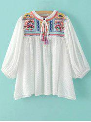 Stand Neck Puff Sleeve Embroidered Sequins Blouse -