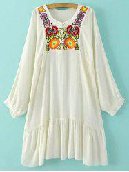 Round Neck Long Sleeve Embroidered Dress -