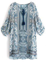 Printed Tassel Shift Boho Tunic Dress - COLORMIX