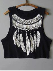 Round Neck Feather Print Tank Top