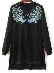 Round Neck High Low Phoenix Embroidered Sweatshirt - BLACK L