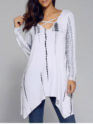 Cut Out Asymmetrical Flowy Blouse - WHITE M