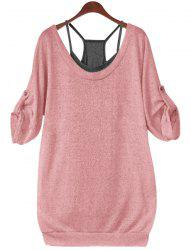 Stylish Scoop Neck Half Sleeve Lace-Up Hollow Out T-Shirt + Solid Color Tank Top Women's Twinset