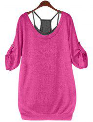 Stylish Scoop Neck Half Sleeve Hollow Out Front Lace-Up T-Shirt + Solid Color Tank Top Women's Twinset -