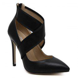Pointed Back Zip Cross-Strap Toe Pumps -