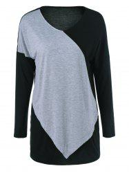 Patchwork Long Sleeve Tee - COLORMIX XL