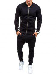 Zippered Pockets Jacket and Jogger Pants Twinset - BLACK