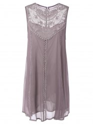 Embroidered Lace Insert Plus Size Casual Sleeveless Dress - PINK