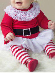 Baby Girls Santa Christmas Outfits - RED WITH WHITE