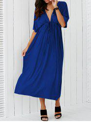 Plongeant Neck taille empire Maxi Dress - Bleu