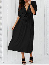 Plunging Neck Empire Waist Casual Maxi Dress - BLACK 4XL