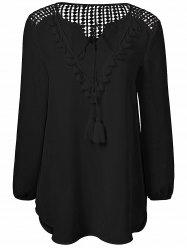 Tassles Splicing Long Sleeve Chiffon Blouse - BLACK