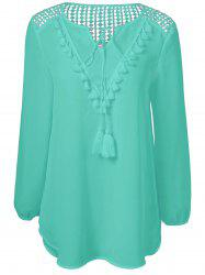 Tassles Splicing Long Sleeve Chiffon Blouse - VERDIGRIS