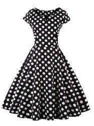Retro Polka Dot Fit and Flare Dress - BLACK