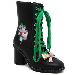 Lace-Up Metallic Bow Floral Embroidery Short Boots - BLACK