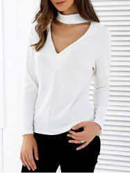 Stand Neck Long Sleeve Cutout T-Shirt