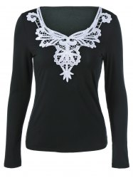 Lace Splicing Long Sleeve Blouse - BLACK L