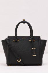 Leather Metal Winged Tote - BLACK