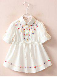 Floral Embroidery Roll Tab Sleeve Shirt Dress -