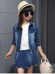 Faux Pearl Embellished Wave Hem Denim Jacket + Skirt Set -