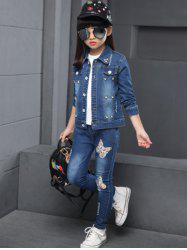 Butterfly Pattern Faux Pearl Denim Jacket + Jeans Twinset -