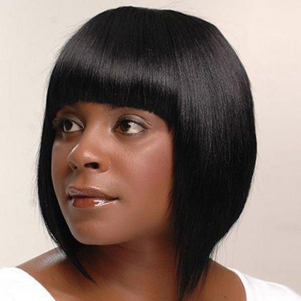 Fashion Short Straight Full Bang Bob Haircut Human Hair Capless Wig