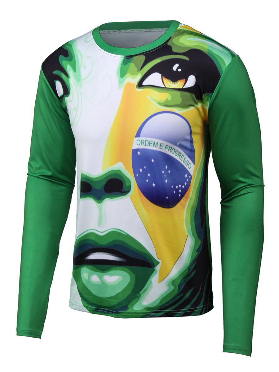 Outfits Abstract 3D Print Round Neck Long Sleeve T-Shirt