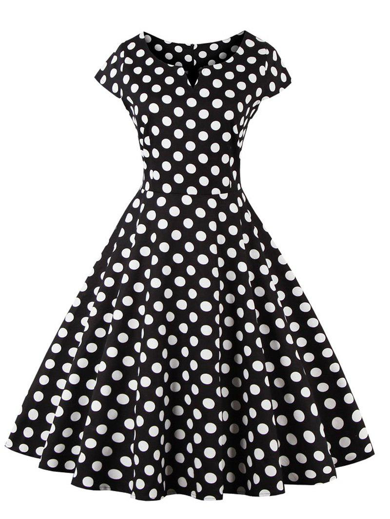 Retro Polka Dot Swing Fit and Flare DressWOMEN<br><br>Size: 4XL; Color: BLACK; Style: Vintage; Material: Cotton,Spandex; Silhouette: A-Line; Dresses Length: Mid-Calf; Neckline: V-Neck; Sleeve Length: Short Sleeves; Pattern Type: Polka Dot; With Belt: No; Season: Fall,Spring,Summer; Weight: 0.3700kg; Package Contents: 1 x Dress;