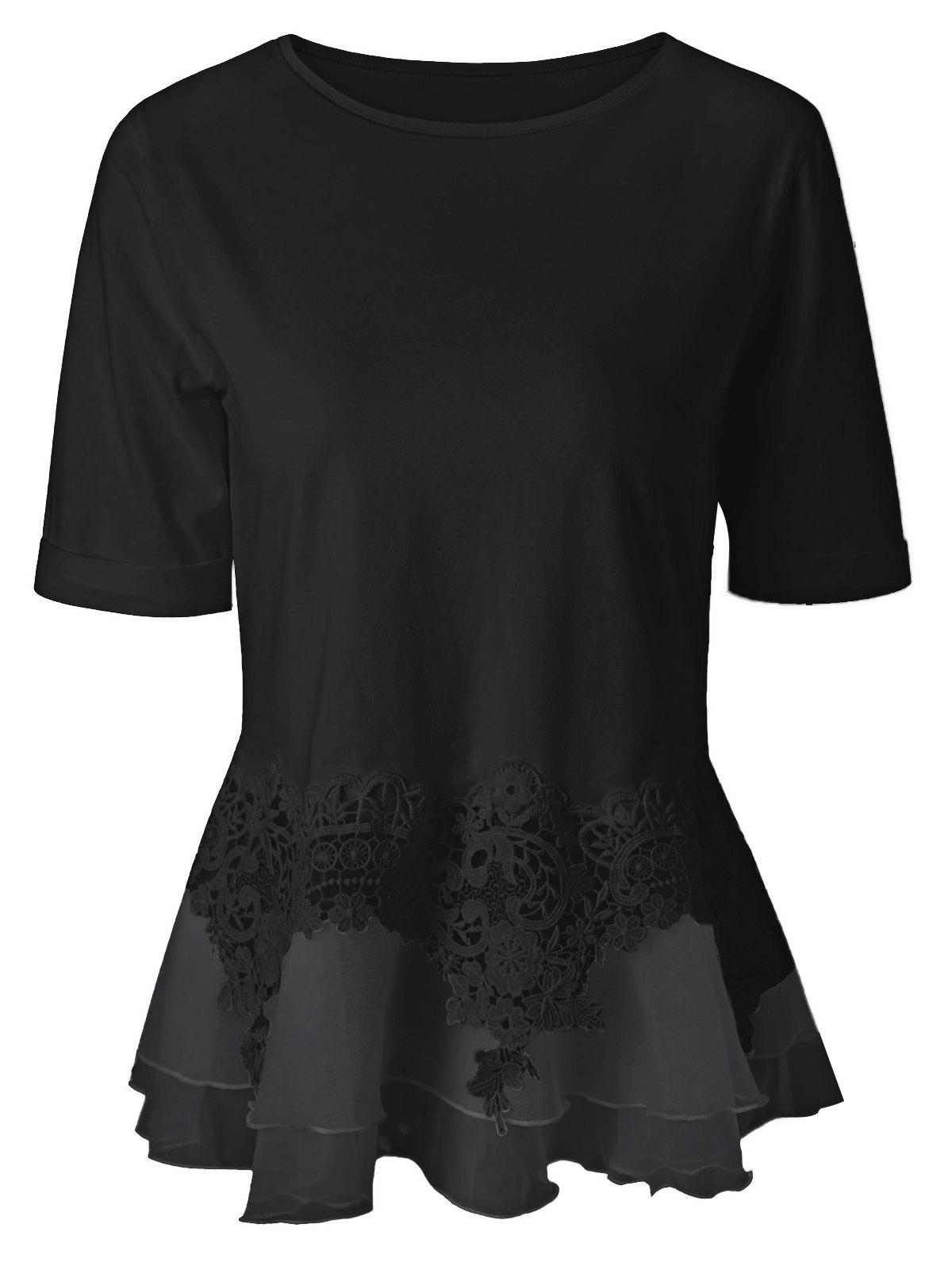 Lace Splicing Layered Peplum BlouseWOMEN<br><br>Size: XL; Color: BLACK; Style: Streetwear; Material: Spandex; Shirt Length: Regular; Sleeve Length: Half; Collar: Jewel Neck; Pattern Type: Patchwork; Season: Summer; Weight: 0.197kg; Package Contents: 1 x Blouse;