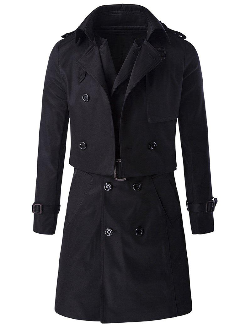 Hot Epaulet Design Buckle Sleeve Coat and Longline Belted Waistcoat Twinset