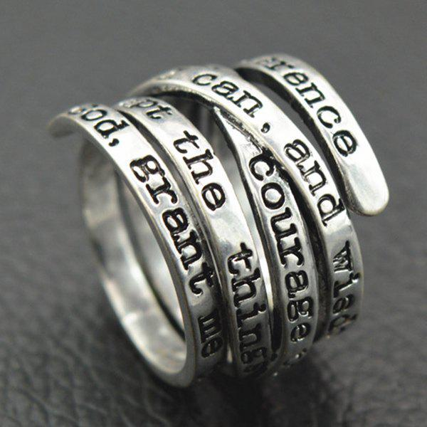 Spring Engraving Letters RingJEWELRY<br><br>Size: 18; Color: SILVER; Gender: For Women; Metal Type: Alloy; Style: Trendy; Shape/Pattern: Letter; Weight: 0.0270kg; Package Contents: 1 x Ring;