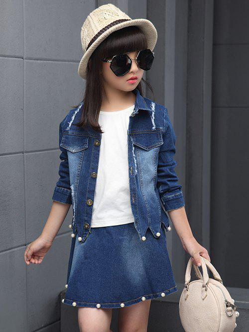 Buy Faux Pearl Embellished Wave Hem Denim Jacket + Skirt Set