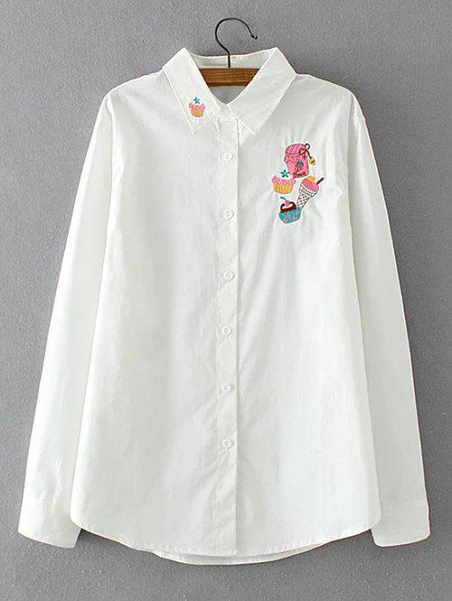 Sale Long Sleeves Embroidered Cake Pattern Shirt