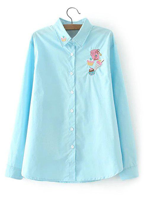 Affordable Long Sleeves Embroidered Cake Pattern Shirt