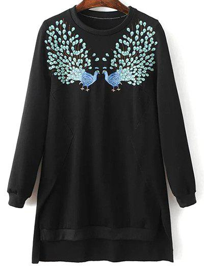 Outfit Round Neck High Low Phoenix Embroidered Sweatshirt