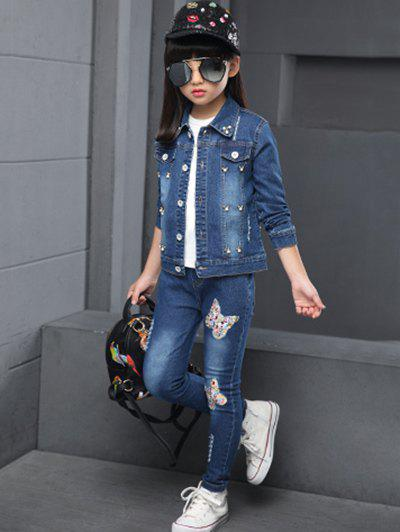 Chic Butterfly Pattern Faux Pearl Denim Jacket + Jeans Twinset