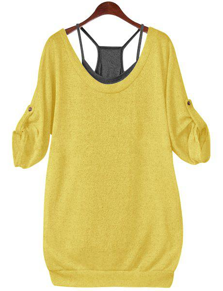Buy Stylish Scoop Neck Half Sleeve Hollow Out Front Lace-Up T-Shirt + Solid Color Tank Top Women's Twinset