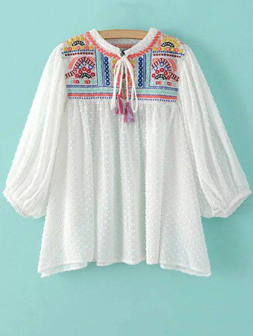 Stand Neck Puff Sleeve Embroidered Sequins Blouse от Rosegal.com INT