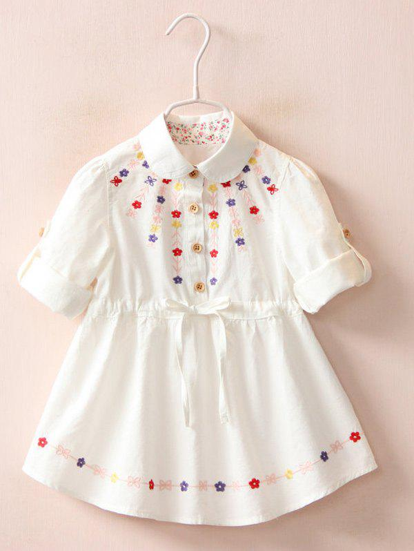 Buy Floral Embroidery Roll Tab Sleeve Shirt Dress