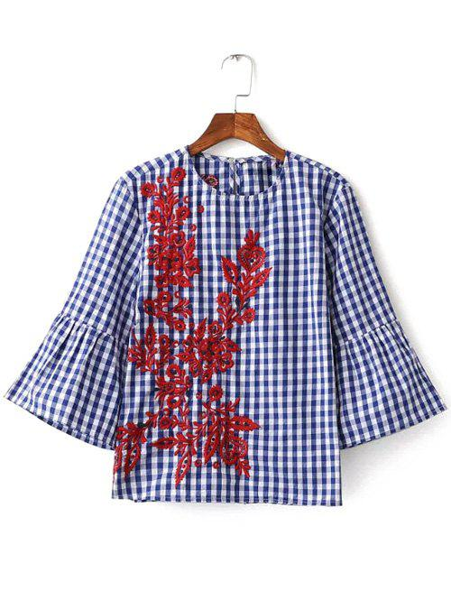 Online Bell Sleeve Plaid Embroidery Blouse