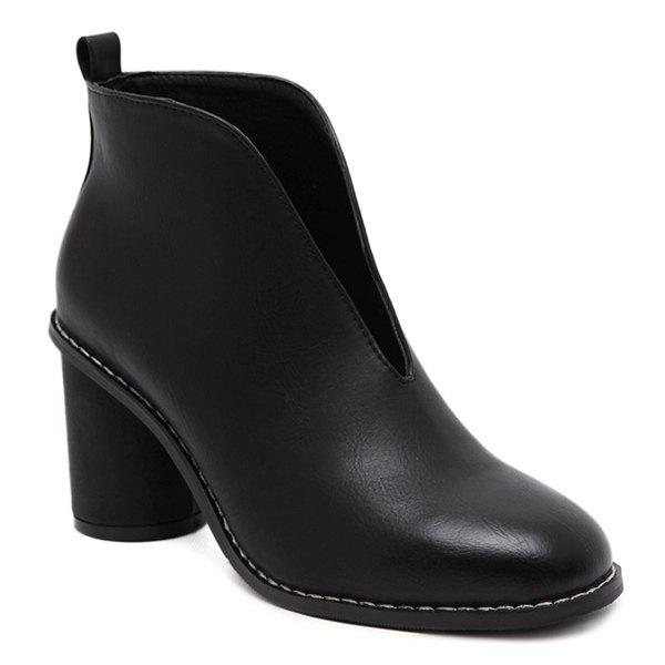 New PU Leather V-Shape Dark Colour Ankle Boots
